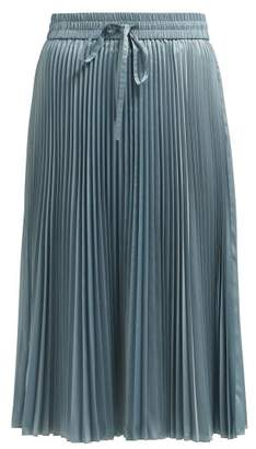 RED Valentino Pleated Technical Satin Midi Skirt - Womens - Light Blue