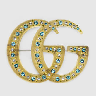 Gucci Resin Double G brooch with crystals