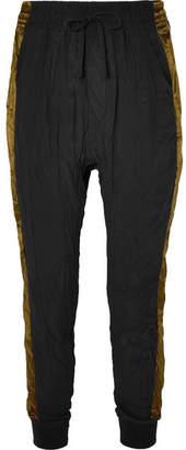 Haider Ackermann Satin-trimmed Crinkled Silk Crepe De Chine Track Pants - Black