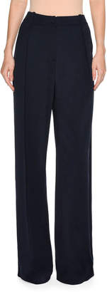 Tomas Maier Slouchy Pleated-Front Wide-Leg Pants, Navy