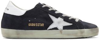 Golden Goose Navy Suede Superstar Sneakers $415 thestylecure.com
