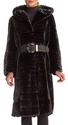 Gorski Micro Sheared Mink Coat with Hood & Leather Belt