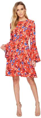 Donna Morgan Jewel Neck Printed Rayon Fit and Flare w/ Bell Sleeve Women's Dress