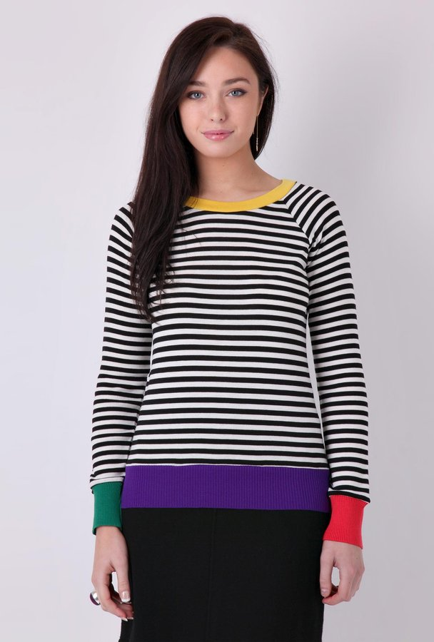 Sonia by Sonia Rykiel Crew Neck Striped Contrast Sweater