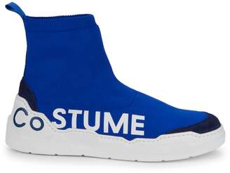 CNC Costume National Logo Suede High-Top Sneakers