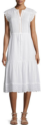 Rebecca Taylor Sleeveless Pintucked Lace-Trim Midi Dress, White $475 thestylecure.com