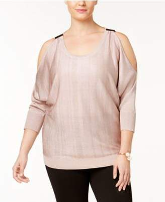 INC International Concepts I.N.C. Plus Size Cold-Shoulder Sweater, Created for Macy's