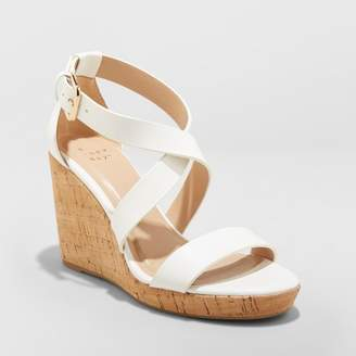 A New Day Women's Cecilia Strappy Cork Wedge Ankle Strap Sandal