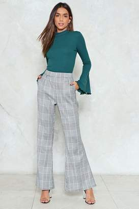 Nasty Gal Check the Fine Print Flare Pants