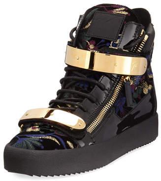 Giuseppe Zanotti Men's Floral Brocade Velvet Double-Bar High-Top Sneaker $995 thestylecure.com