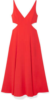 Jason Wu GREY Cutout Crepe De Chine Midi Dress - Tomato red