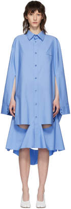 Maison Margiela Blue Oversized Cut Out Shirt Dress