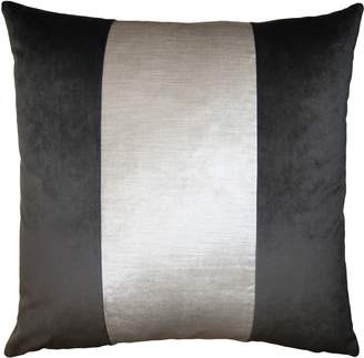 Square Feathers Stone Ivory Band Accent Pillow