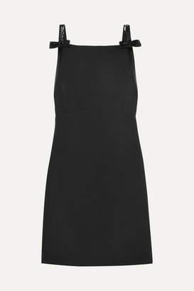 Miu Miu Sequined Open-back Wool And Silk-blend Cady Mini Dress - Black