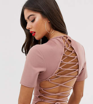 bf68eae32e16 Missguided Tall lace up back bodysuit in nude