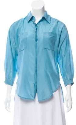 Diane von Furstenberg Lian Silk-Blend Top Blue Lian Silk-Blend Top