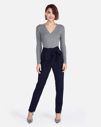 Express Cable Knit Fitted V-Neck Sweater