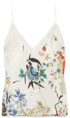 MENG - Floral-print Silk-satin Camisole - White