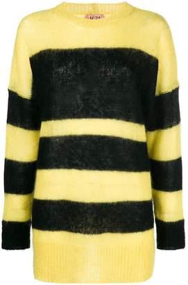 No.21 striped longline sweater