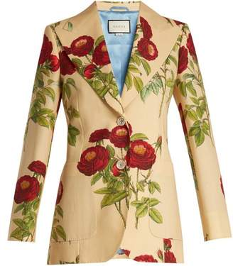 Gucci - Rose Print Wool And Mohair Blend Jacket - Womens - Yellow Multi