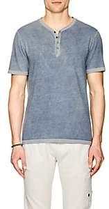 John Varvatos Men's Cotton-Blend Henley-Royal Blue