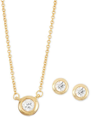 Macy's White Sapphire 2-Pc. Bezel-Set Stud Earring and Pendant Necklace Set (1/2 ct. t.w.) in 14k Gold-Plated Sterling Silver