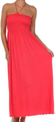 Sakkas 5026 Jersey Solid Color String Halter Maxi Dress - /
