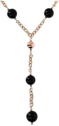 """Argento Arte D'argento Arte D' Sterling Black Onyx Bead 24"""" Y-Necklace"""