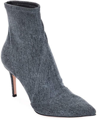 Gianvito Rossi Stretch-Denim Pointed Booties