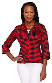 Joan Rivers Classics Collection Joan Rivers Houndstooth Jacket with3/4 Sleeve