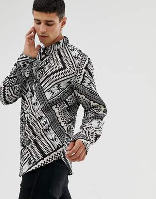 Another Influence geo-tribal print long sleeve shirt