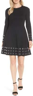 MICHAEL Michael Kors Grommet Trim Fit & Flare Dress