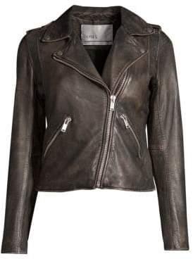 Doma Washed Leather Moto Jacket