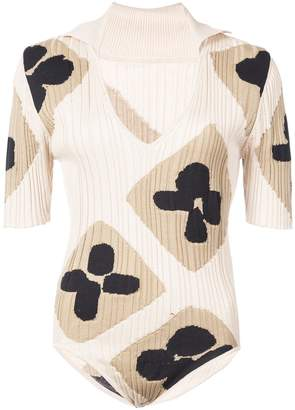 Jacquemus plunge neck printed body