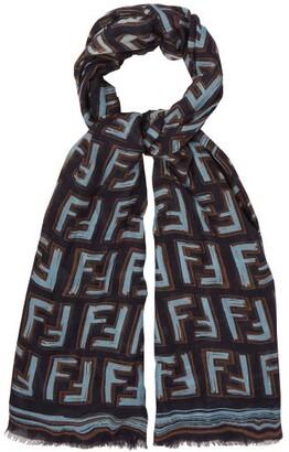 Fendi Ff Logo Print Scarf - Womens - Blue