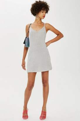 Topshop Ribbed MeTallic Swing Dress