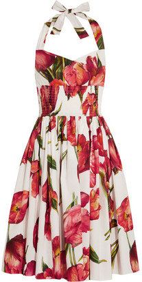 Dolce & Gabbana - Floral-print Cotton-poplin Dress - Red $1,945 thestylecure.com