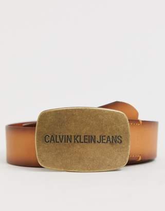 Calvin Klein Jeans leather buckle belt in brown