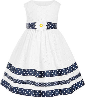 Blueberi Boulevard Baby Girls Ribbon-Trim Eyelet Dress