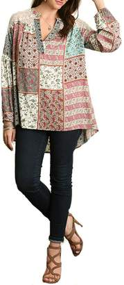 Umgee USA Floral Patch-Work Blouse
