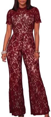 467ea6bf900 pujingge-CA Women Sexy Lace Crochet Short Sleeve Wide Leg Long Pants  Jumpsuit Romper 5