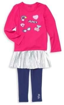 Juicy Couture Little Girl's Two-Piece Metallic Peplum Sweater & Leggings Set