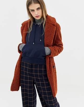 Pull&Bear borg teddy coat in rust