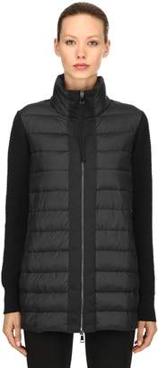 Moncler Nylon & Wool Knit Down Jacket