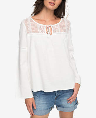 Roxy Juniors' Cotton Mesh-Inset Top