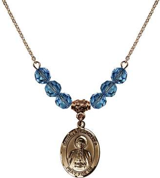 Chanel Bonyak Jewelry Saint Necklace Collection 18-Inch Hamilton Gold Plated Necklace with 6mm Blue March Birth Month Stone Beads and Saint Peter Charm