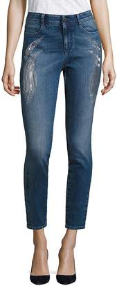 Peserico Women's Embroidered Sparkles High-Waist Skinny Jeans - Storm, Size 28 (4-6)