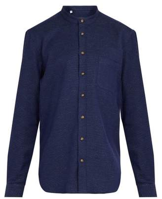 Thom Sweeney - Nehru Collarless Woven Cotton Shirt - Mens - Navy
