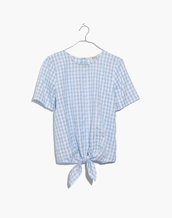 Madewell Button-Back Tie Tee in Gingham Check
