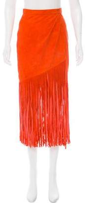 Tamara Mellon Suede Fringe Skirt